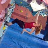 Woman Indoor Free Climbing Stock Photography