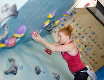 Woman Indoor Free Climbing Royalty Free Stock Photo