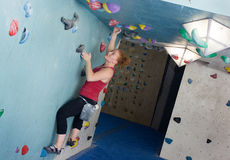 Woman Indoor Free Climbing Royalty Free Stock Photo
