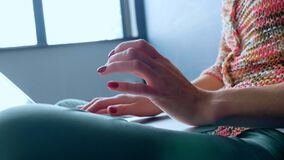 Woman indoors working on laptop. Close-up. Woman indoors working on laptop. Close-up stock footage