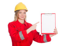 Woman in industrial concept isolated Royalty Free Stock Photo