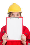 Woman in industrial concept isolated Royalty Free Stock Photography