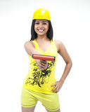 Woman industrial worker painting Stock Photo