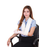 Woman with an injured arm wrapped in an Elastic Bandage Stock Photography