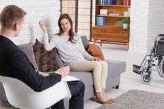 Woman after injury on psychotherapy Royalty Free Stock Image