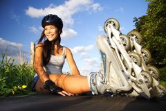 Woman on inline skates Stock Photos