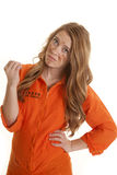 Woman inmate dirty hold up hand Royalty Free Stock Photos