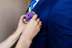 Woman inserting the boutonniere in buttonhole of man. In suit Stock Photos
