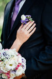 Woman inserting the boutonniere in buttonhole. Of man in suit Royalty Free Stock Photo