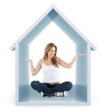 Woman inside a 3d house Royalty Free Stock Photography