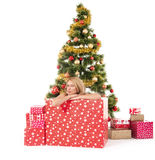 Woman inside of gift box and christmas tree behind Royalty Free Stock Photography
