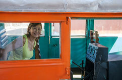 Woman inside litorina on Estrada de Ferro Madeira-Mamore railroa Stock Photography