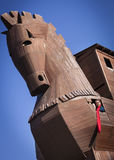 Woman Inside of Reconstructed Trojan Horse Stock Photography