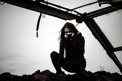 Woman inside the rusty structure royalty free stock photos