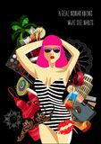 A woman inside of women`s things, the concept of female desires. Vector illustration. Royalty Free Stock Photos