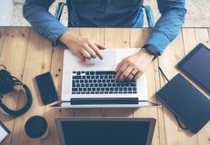 Woman Insider Working Wood Table Laptop Modern Interior Design Loft Office.Girl Work Coworking Studio,Use Notebook Stock Image