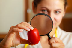 Woman inspecting tomato with magnifying glass. Stock Photos