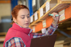 Woman inspector doing inventory in warehouse royalty free stock photo