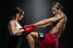 Woman Instructor And Man Training Mixed Martial Art Stock Images