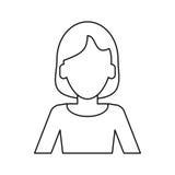 Woman intelligent success thin line vector illustration
