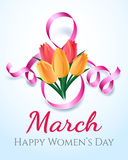 Woman international eight march day card Stock Photos