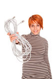 Woman with internet cable power wire Stock Photos