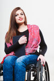 Woman invalid girl on wheelchair using tablet Royalty Free Stock Photography