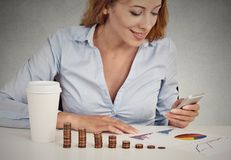 Woman investment consultant analyzing company annual report Stock Image