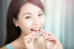 Woman with invisible braces Stock Photos