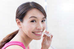 Woman with invisible braces. Beauty woman smile happily with invisible braces Royalty Free Stock Images