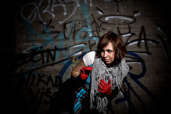 Woman ion grunge dark location Stock Photos