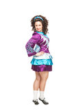 Woman in irish dance dress posing isolated Stock Images