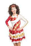 Woman in irish dance dress showing tongue Royalty Free Stock Image