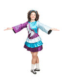 Woman in irish dance dress welcoming isolated. Young woman in irish dance dress and wig welcoming isolated Stock Image