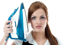 Woman with the iron Stock Photo