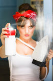 Woman With Iron And Ironing Spray Royalty Free Stock Images