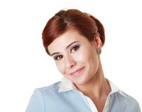 Woman with ironic smile Royalty Free Stock Photos