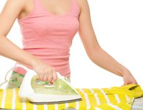 Woman ironing Stock Photography