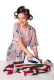 Woman is ironing clother Royalty Free Stock Photo