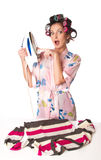 Woman is ironing clother Stock Photo