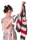 Woman is ironing clother Royalty Free Stock Photos