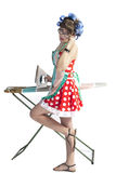 Woman ironing clothes Royalty Free Stock Image