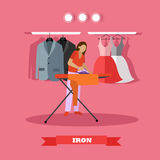 Woman ironing clothes vector illustration. Housewife uses the home appliance Stock Image