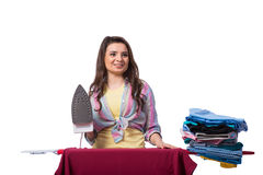The woman ironing clothing isolated on white Royalty Free Stock Photography