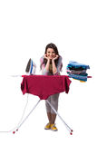 The woman ironing clothing isolated on white Stock Photo