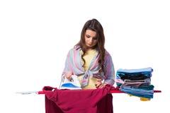 The woman ironing clothing isolated on white Stock Photos