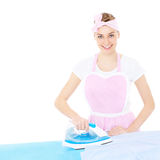 Woman ironing in retro style Royalty Free Stock Photography