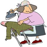 Woman Ironing A Shirt. This illustration depicts a woman steaming a shirt on an ironing board Stock Photos