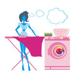 Woman irons clothes, silhouette Illustration Stock Photo