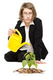Woman irrigating a plant. Stock Photos